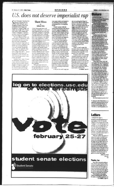 Daily Trojan, Vol. 148, No. 29, February 27, 2003