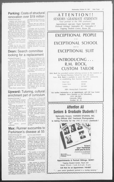 Daily Trojan, Vol. 116, No. 32, October 16, 1991