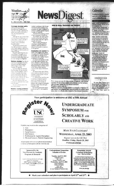 Daily Trojan, Vol. 148, No. 41, March 26, 2003