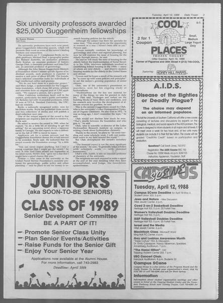 Daily Trojan, Vol. 106, No. 58, April 12, 1988