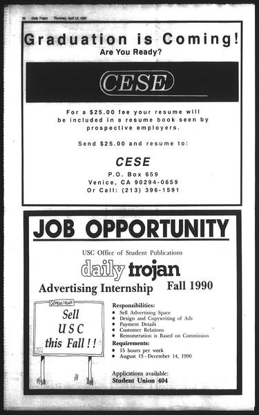 Daily Trojan, Vol. 111, No. 57, April 12, 1990