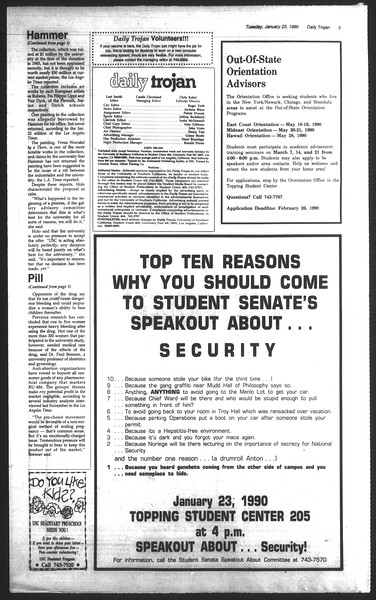 Daily Trojan, Vol. 111, No. 8, January 23, 1990