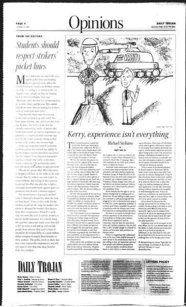 Daily Trojan, Vol. 150, No. 47, October 31, 2003