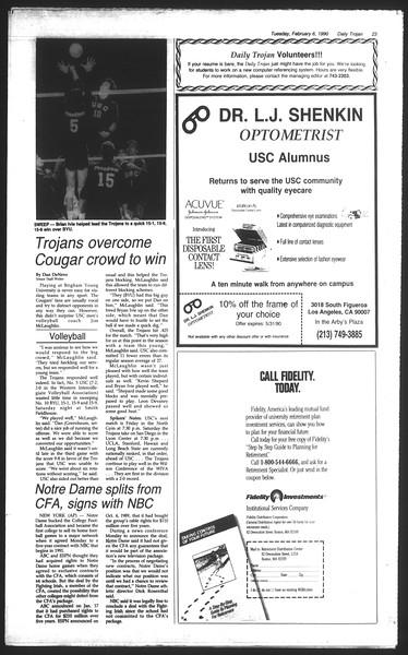 Daily Trojan, Vol. 111, No. 18, February 06, 1990