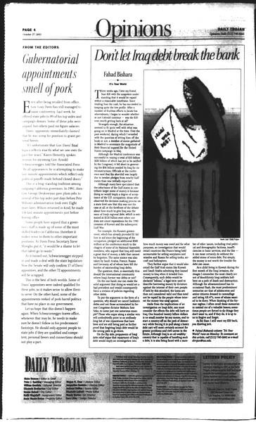 Daily Trojan, Vol. 150, No. 43, October 27, 2003