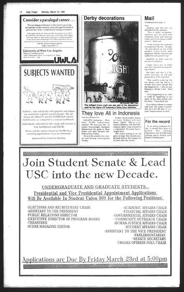 Daily Trojan, Vol. 111, No. 45, March 19, 1990