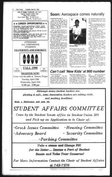 Daily Trojan, Vol. 111, No. 65, April 24, 1990