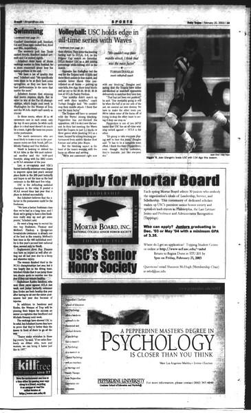 Daily Trojan, Vol. 148, No. 24, February 20, 2003