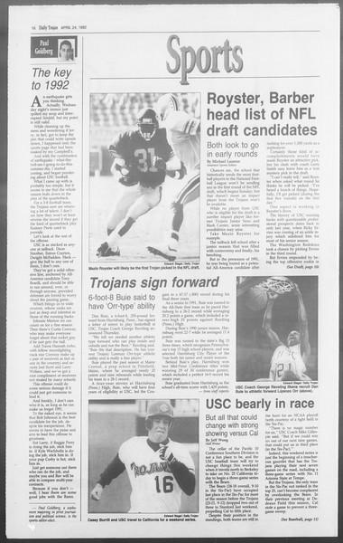 Daily Trojan, Vol. 117, No. 64, April 24, 1992