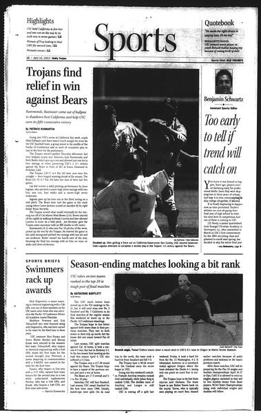 Daily Trojan, Vol. 148, No. 58, April 18, 2003