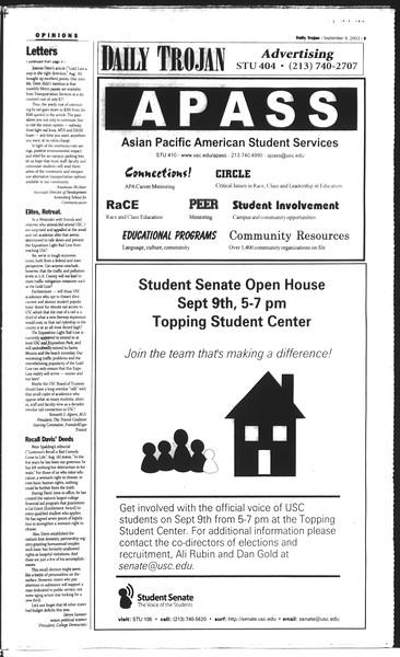 Daily Trojan, Vol. 150, No. 10, September 09, 2003