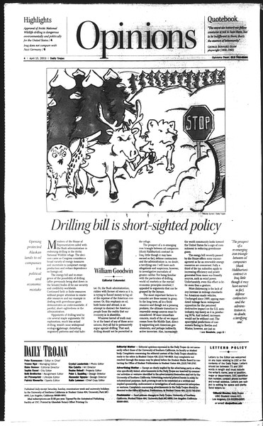 Daily Trojan, Vol. 148, No. 55, April 15, 2003