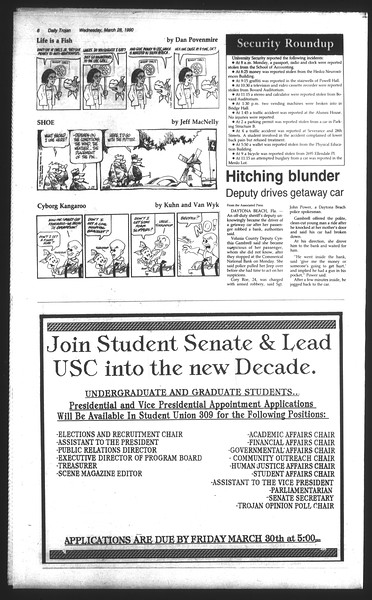 Daily Trojan, Vol. 111, No. 52, March 28, 1990