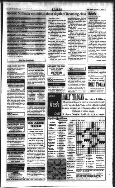 Daily Trojan, Vol. 148, No. 20, February 12, 2003