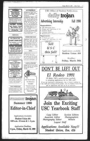 Daily Trojan, Vol. 111, No. 39, March 09, 1990