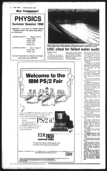 Daily Trojan, Vol. 111, No. 65, April 24, 1990