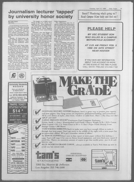 Daily Trojan, Vol. 106, No. 58, April 12, 1988