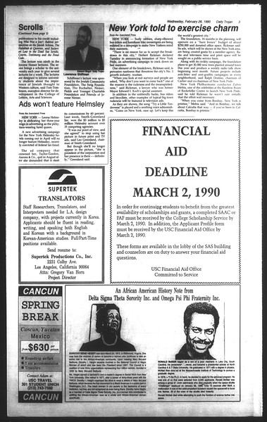Daily Trojan, Vol. 111, No. 32, February 28, 1990