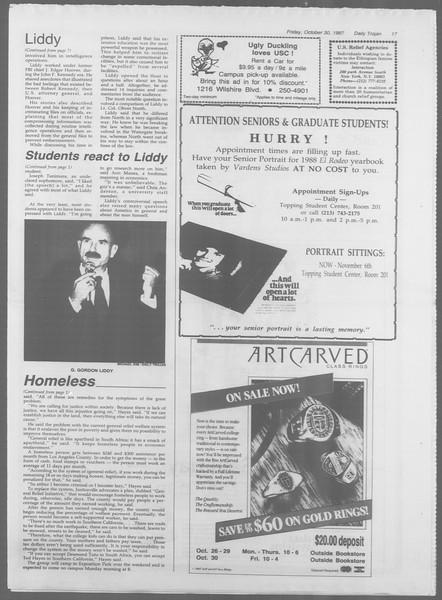Daily Trojan, Vol. 105, No. 41, October 30, 1987