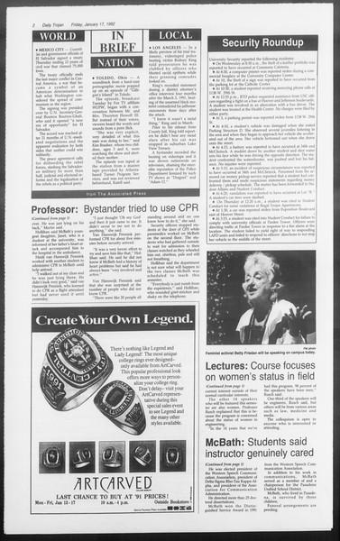 Daily Trojan, Vol. 117, No. 4, January 17, 1992