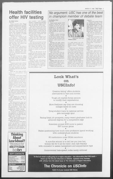 Daily Trojan, Vol. 117, No. 42, March 17, 1992
