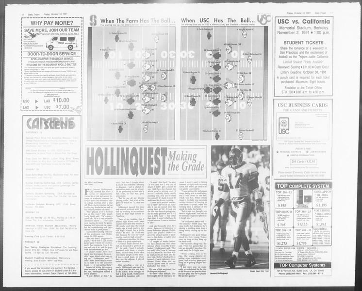 Daily Trojan, Vol. 116, No. 34, October 18, 1991
