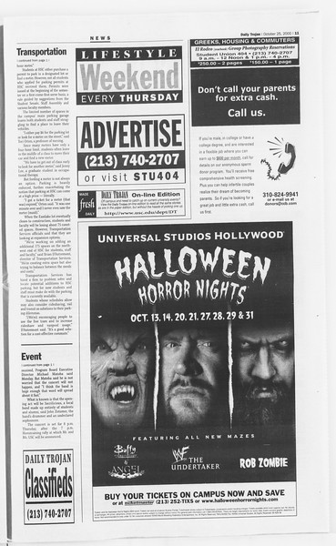 Daily Trojan, Vol. 141, No. 40, October 25, 2000