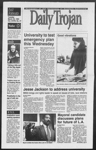 Daily Trojan, Vol. 119, No. 47, March 23, 1993