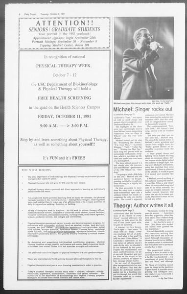 Daily Trojan, Vol. 116, No. 26, October 08, 1991