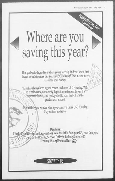 Daily Trojan, Vol. 117, No. 29, February 27, 1992