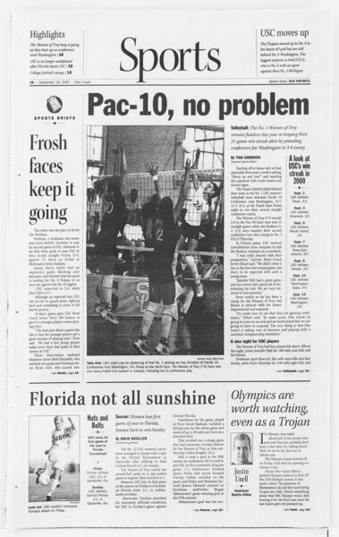 Daily Trojan, Vol. 141, No. 14, September 18, 2000