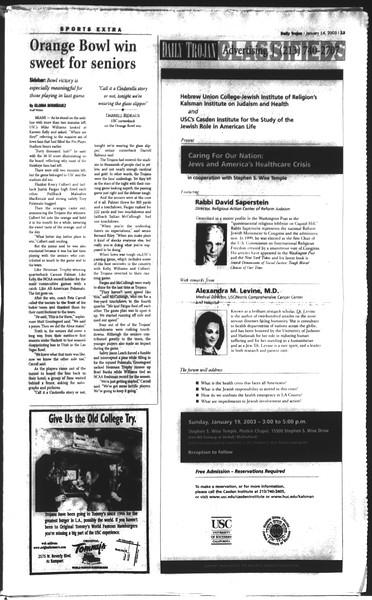 Daily Trojan, Vol. 148, No. 1, January 14, 2003
