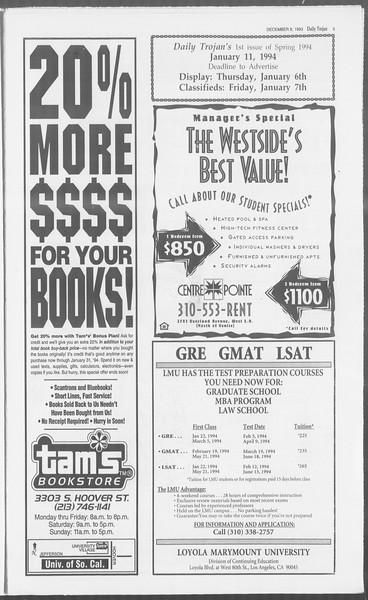 Daily Trojan, Vol. 121, No. 66, December 08, 1993