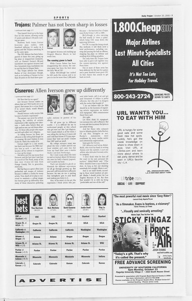 Daily Trojan, Vol. 141, No. 38, October 20, 2000