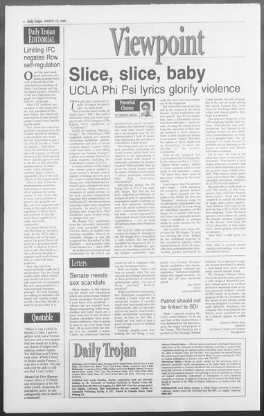 Daily Trojan, Vol. 117, No. 41, March 16, 1992