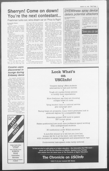 Daily Trojan, Vol. 117, No. 43, March 18, 1992