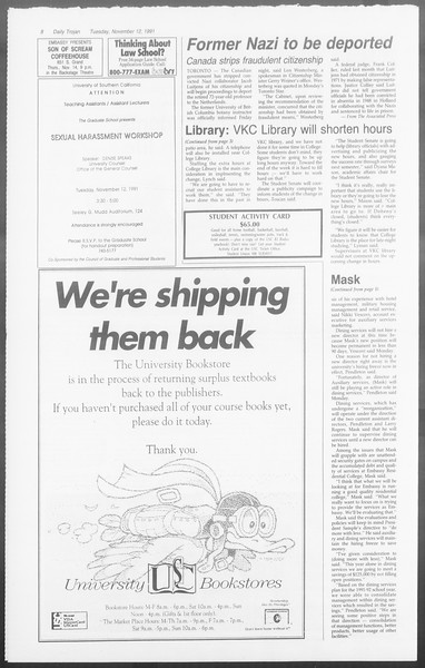 Daily Trojan, Vol. 116, No. 50, November 12, 1991