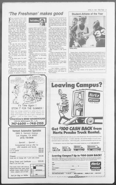 Daily Trojan, Vol. 117, No. 65, April 27, 1992