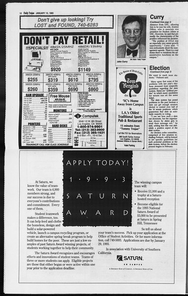 Daily Trojan, Vol. 119, No. 2, January 13, 1993