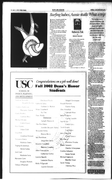 Daily Trojan, Vol. 148, No. 46, April 02, 2003