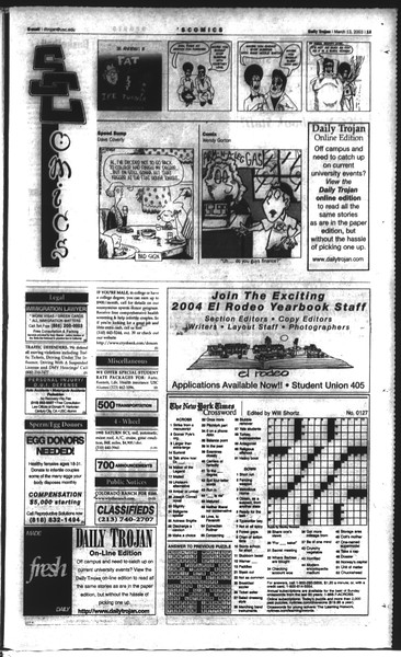 Daily Trojan, Vol. 148, No. 36, March 10, 2003