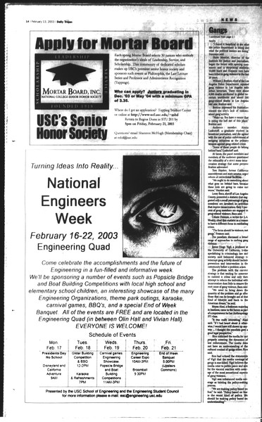 Daily Trojan, Vol. 148, No. 21, February 13, 2003