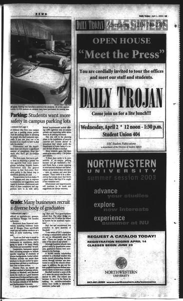 Daily Trojan, Vol. 148, No. 45, April 01, 2003