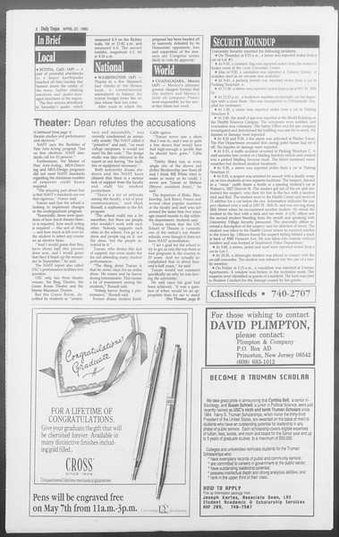 Daily Trojan, Vol. 117, No. 65, April 27, 1992