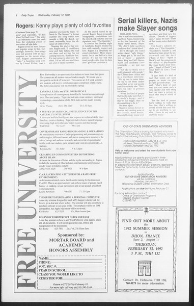 Daily Trojan, Vol. 117, No. 20, February 12, 1992