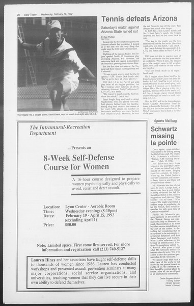 Daily Trojan, Vol. 117, No. 23, February 19, 1992
