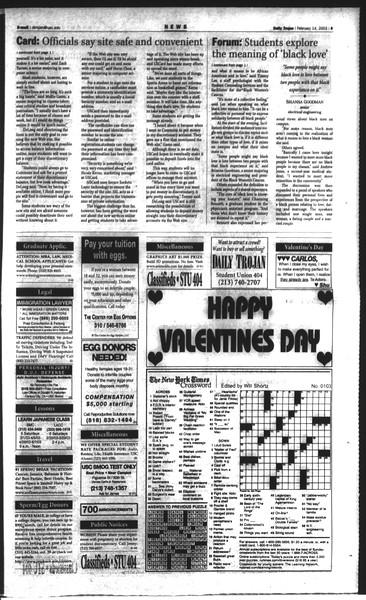 Daily Trojan, Vol. 148, No. 22, February 14, 2003