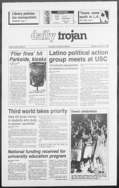 Daily Trojan, Vol. 117, No. 8, January 27, 1992
