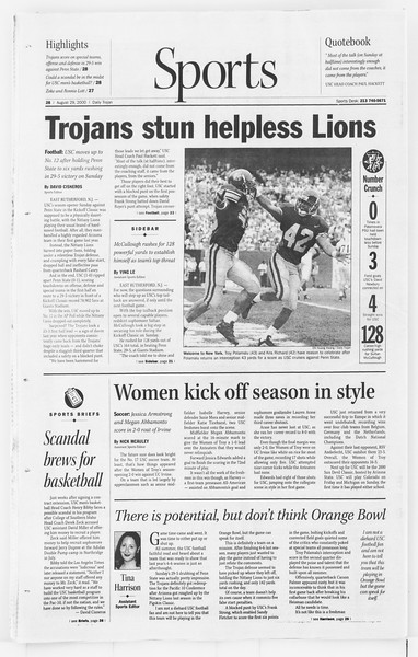 Daily Trojan, Vol. 141, No. 2, August 29, 2000