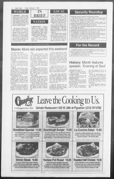 Daily Trojan, Vol. 117, No. 17, February 07, 1992